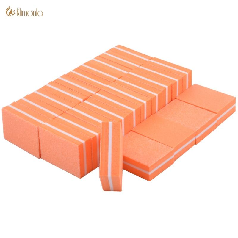100 pcs lote mini lixas de unha laranja esponja nail care lustrando lixar blocos de cuticula