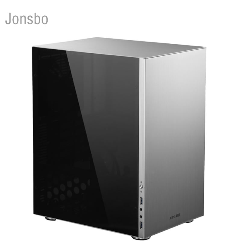 цена JONSBO C3 Aluminum side translucent chassis, ITX HTPC mini chassis USB3.0, support MATX board power supply Desktop comput case