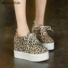 NAYIDUYUN  New Fashion Womens Lace Up Party High Heels Low Top Wedge Platform Pumps Casual Greepers Shoes Black/Grey/Leopard