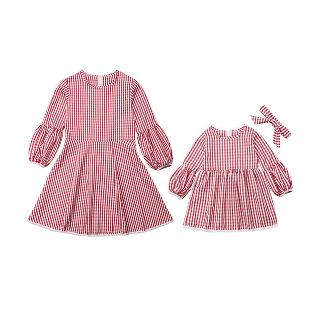 Christmas Mother daughter dresses Mom and me Women kids girl Cute checkerboard dress elegant Xmas party princess Dress C0390 3