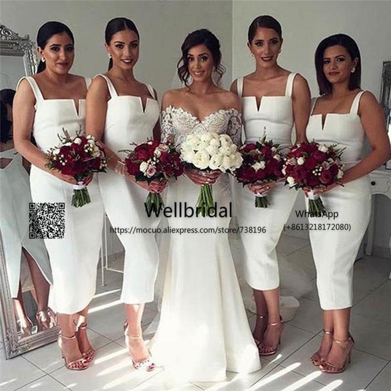 Cheap Unique White 2017 Junior   Bridesmaid     Dresses   Off Shoulder Sexy Tea Length Wedding Party   Dress   Formal   bridesmaid     dress