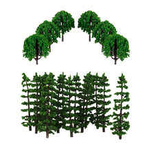 40Pcs Plastic Painted Scenery Landscape Train Model Trees Scale 1/100 HO Scale DIY Layout Forest Diorama Scene Accessories(China)