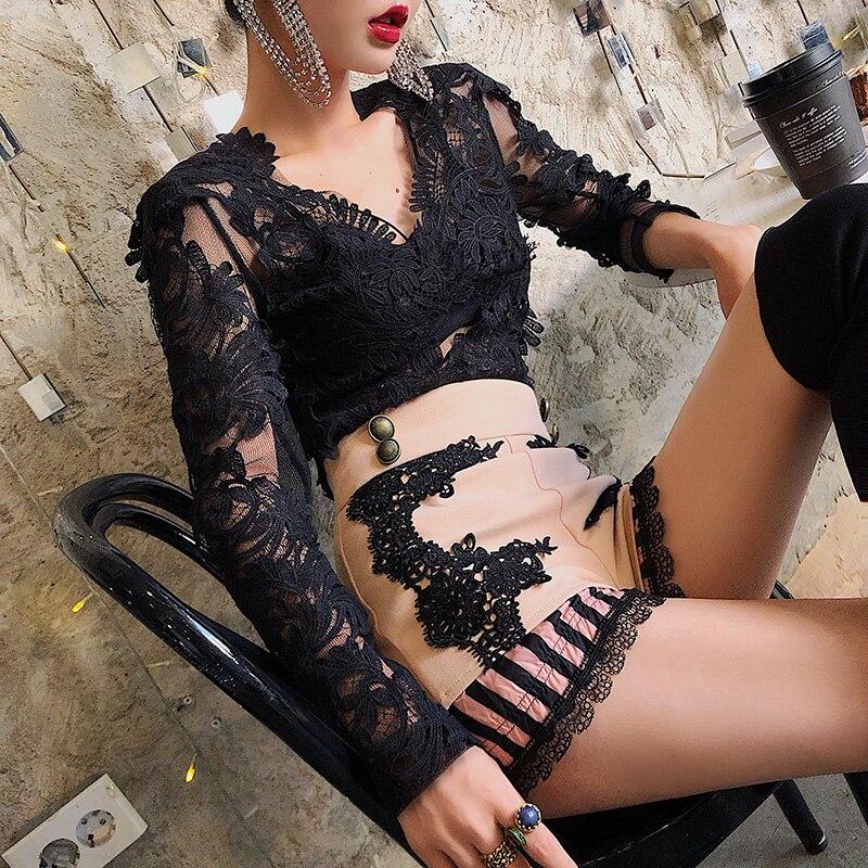 Whitney Dama Camisa Streetwear cuello V Sexy 3d Wang Mujer Blusas 2019 Oficina Encaje Primavera Flores Moda Blusa rarRZq