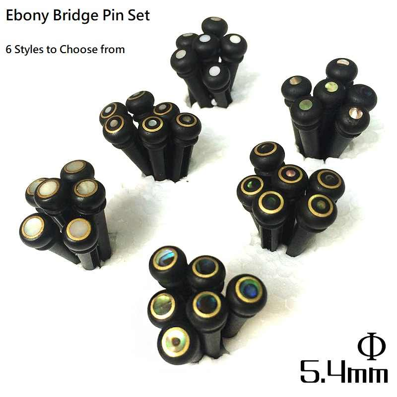 QiCai Ebony Wood Inlay Guitar Bridge Pins with White Pearl or Abalone Color, 6 Design Available, sell by 1 set of 6