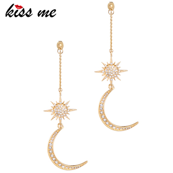 KISS ME Newest Shiny Crystal Star Moon Earrings Charming 1