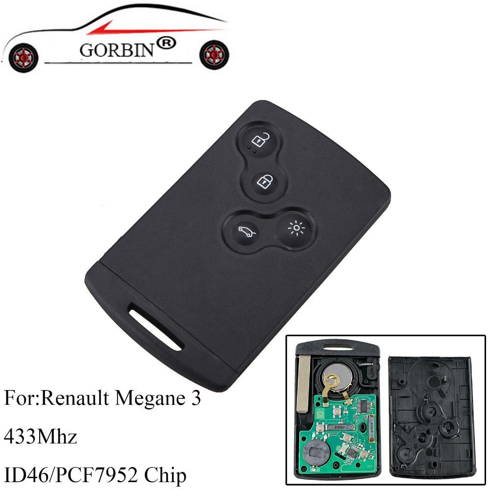 GORBIN 4 boutons Smart télécommande porte-clés 433 Mhz PCF7952 puce pour Renault Megane 3 2009 2010 2011 2012 2013 2014 clés de voiture