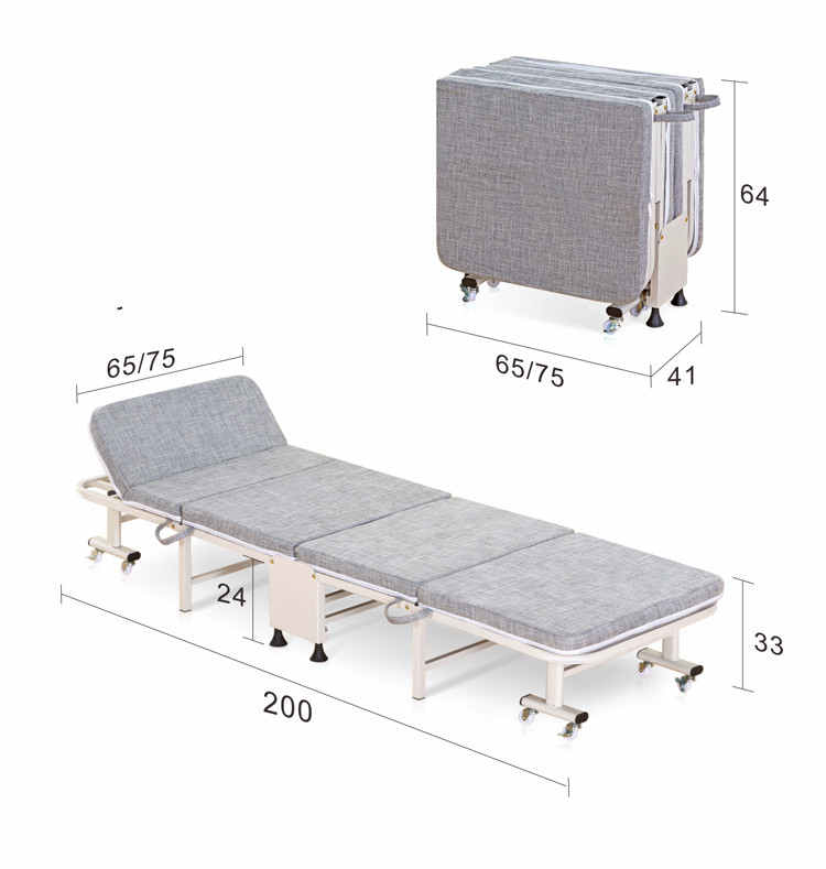 65cm/75cm Wide Hospitality Rollaway Folding Bed W/Mattress&Caster Bedroom Furniture Luxury Folding Guest Bed Modern Single Bed airline ao wc 12