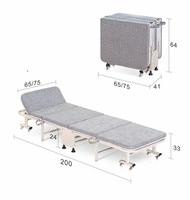 65cm/75cm Wide Hospitality Rollaway Folding Bed W/Mattress&Caster Bedroom Furniture Luxury Folding Guest Bed Modern Single Bed