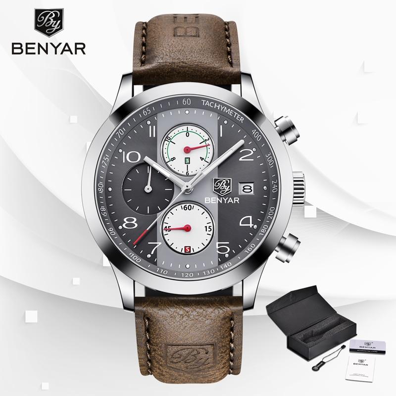 Wristwatches Quartz Watch Military Chronograph BENYAR Watches Men Reloj Hombre Luminous Pointer Waterproof Sports Male Watches