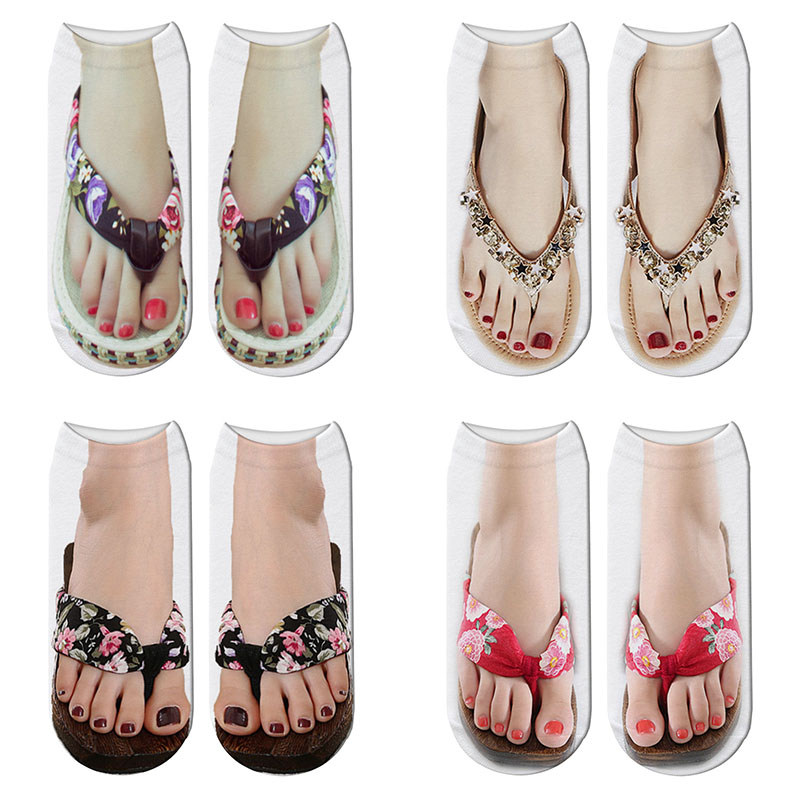 New 3D Printed Ladies Beach Slippers Pattern Short   Socks   Summer Women Kawaii Sandals Slippers Ankle   Socks   Calcetines Mujer