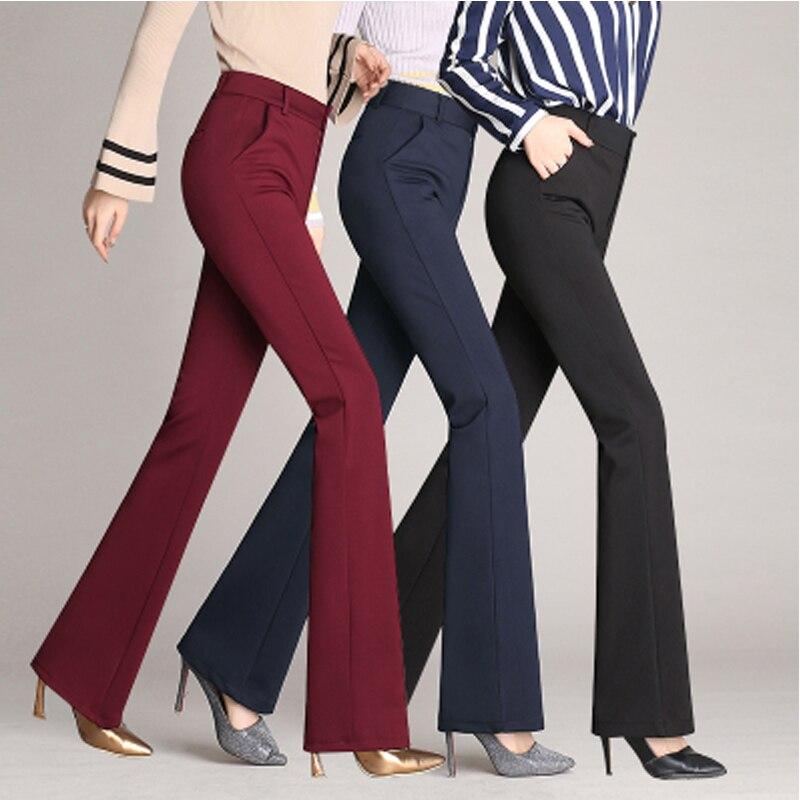 Neue 2019 Herbst Europäischen Stil Plus Größe 4XL Frauen Hose Flare Anzug Hosen Hohe Taille Taste Fly Damen Gerade Marke capris