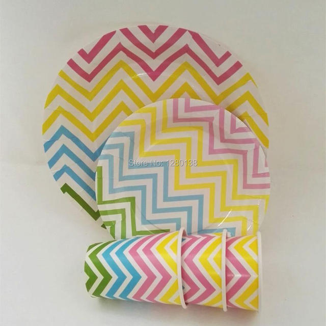 Rainbow Disposable Party Tableware Set (Pink/Blue/Yellow/Green) Chevron Dinner  sc 1 st  AliExpress.com : pink and blue paper plates - pezcame.com