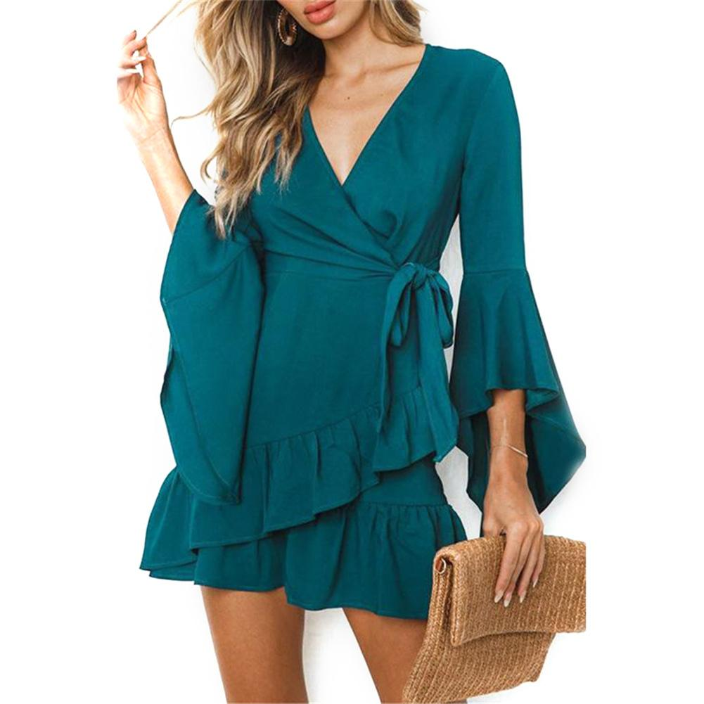 Women satin solid dress Ruffle flare sleeve sash wrap dress 2018 Autumn winter V neck sexy female dress vestidos