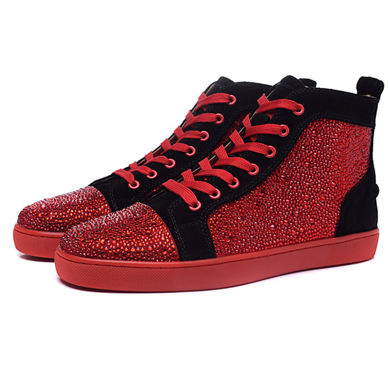Luxury Handmade Rhinestone High Top Casual Shoes Breathable Round Toe Lace Up Flyweave Flats Sneakers Men tenis masculino adulto