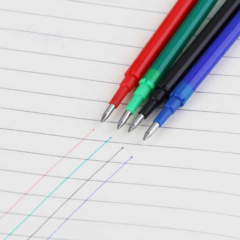 5 pièces noir vert bleu rouge encre effaçable Gel stylo recharges tiges grande capacité écriture remplacement fournitures scolaires papeterie