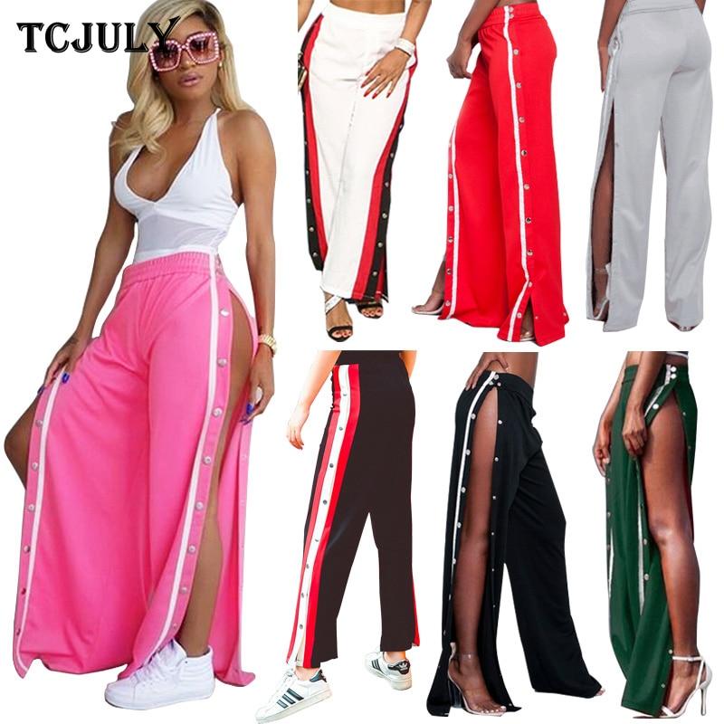 TCJULY Fashionable Streetwear   Wide     Leg     Pants   Side Rivet Furcal Design Trousers For Women High Waist Loose Casual Plus Size   Pants