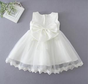 Image 3 - 1 unidad melocotón blanco sin mangas bebé niña bautismo bautizo Pascua vestido de encaje Bowknot flor vestido de fiesta Niña 0 24 meses