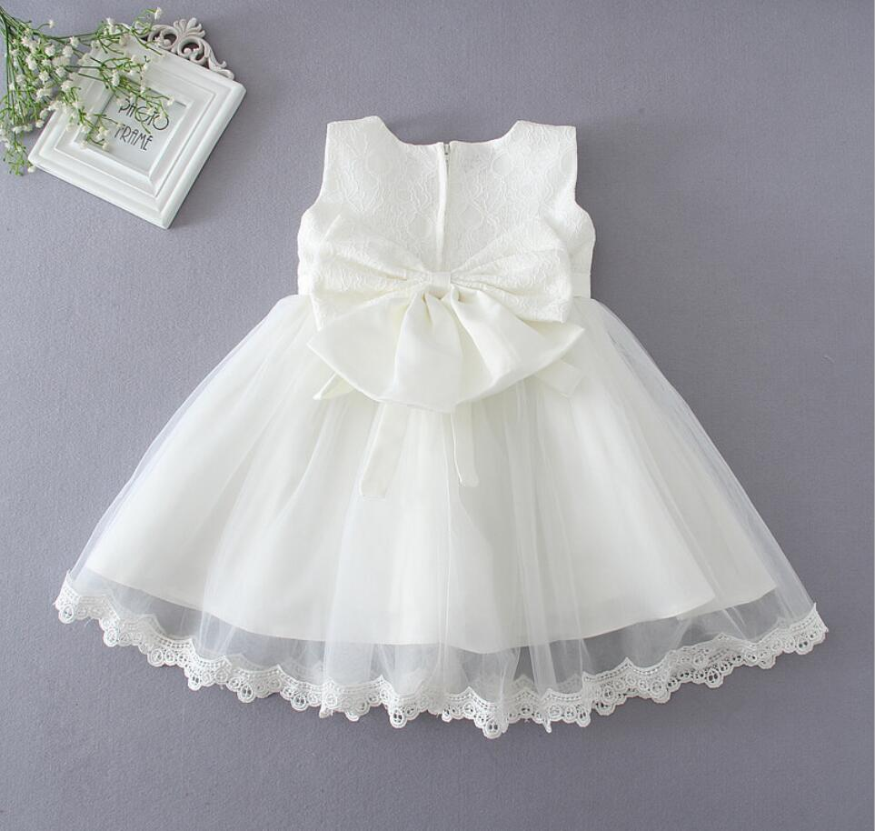 4758d004fe US $17.67 32% OFF|1PC Peach White Sleeveless Baby Girl Baptism Christening  Easter Gown Dress Lace Bowknot Flower Girl Party Dress 0 24Months-in ...