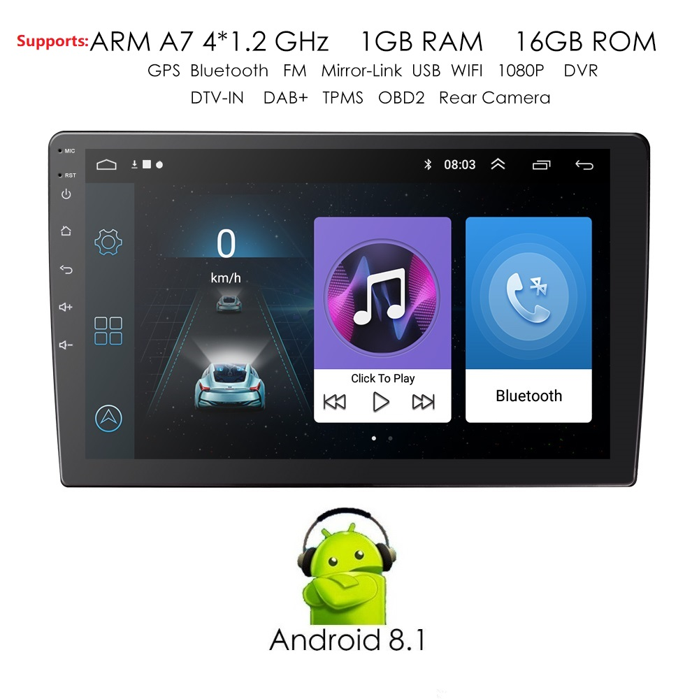 2din Car Radio Android multimedia player Autoradio 2 Din 9'' Touch screen GPS Bluetooth FM WIFI auto audio player stereo dvr obd