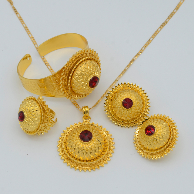 Ethiopian Jewelry set  Gold Plated Pendant Necklaces/Earrings/Ring/Bangle Eritrea Africa Habesha Wedding Party items #001617