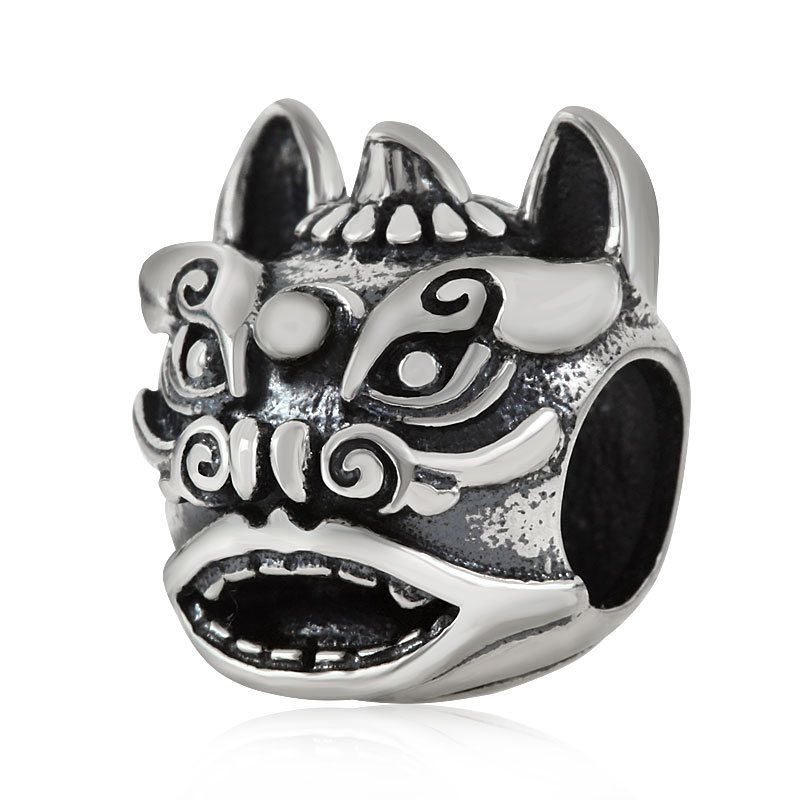 Chinese Guardian Lions Amulet Charm Genuine 925 Sterling Silver Sea Lions Charm Beads for Pandora Charm Bracelets Jewelry