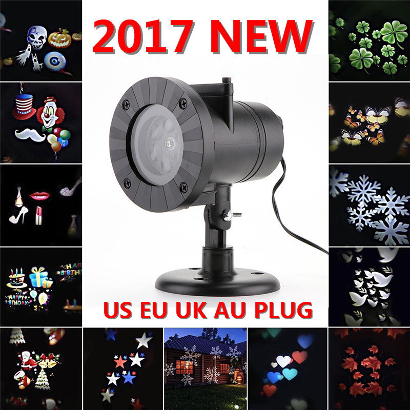 Chrismas Waterproof Laser Fairy Light Projector Snowflake Outdoor LED Stage Lights 12 Types Holiday Lamp Garden ...