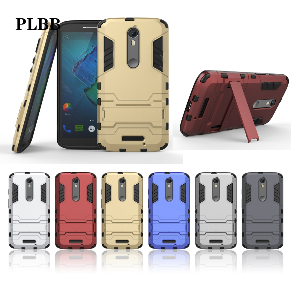 PLBB <font><b>Case</b></font> For Moto X Force Shockproof Hybrid <font><b>2</b></font> in 1 Armor Hard PC+TPU+Holder <font><b>Phone</b></font> Cover For Moto <font><b>Droid</b></font> <font><b>Turbo</b></font> <font><b>2</b></font> XT1585 XT1581
