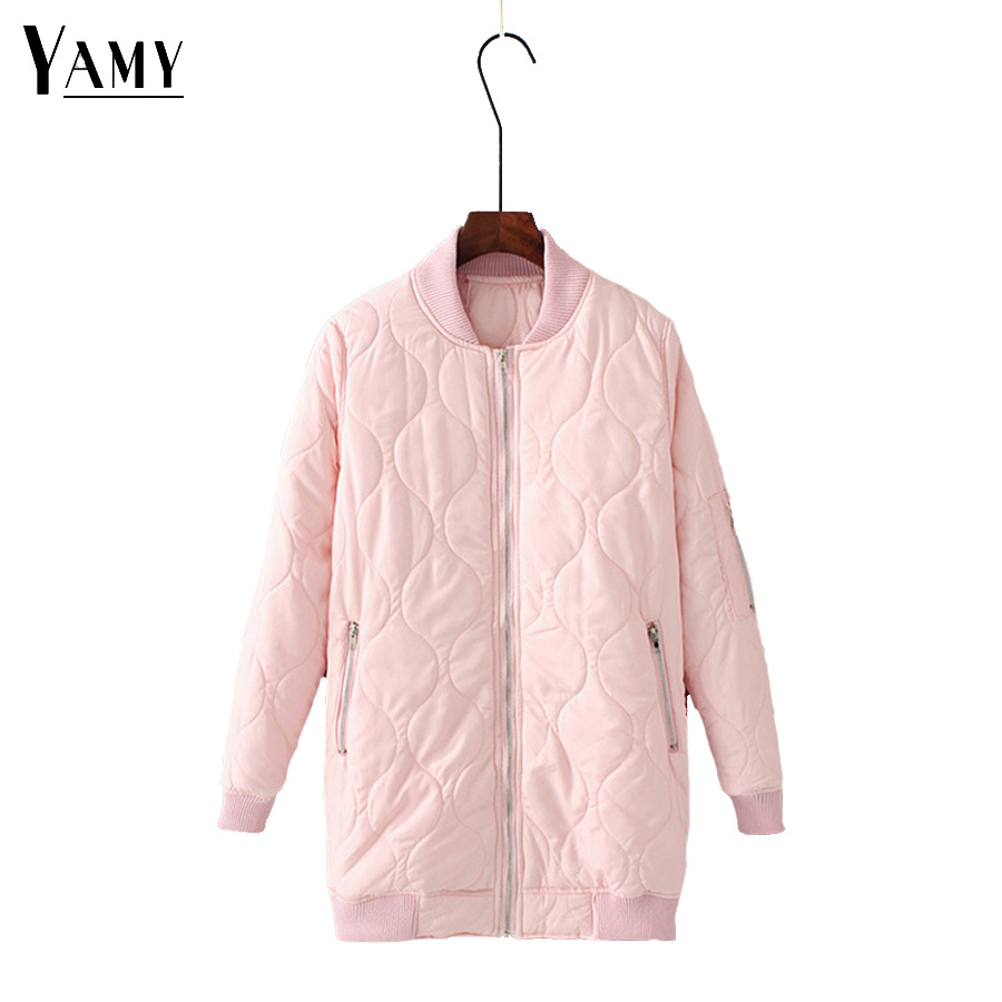 Winter long military bomber jacket women black pink long sleeve ladies baseball windbreaker womens jackets and coats girls tops