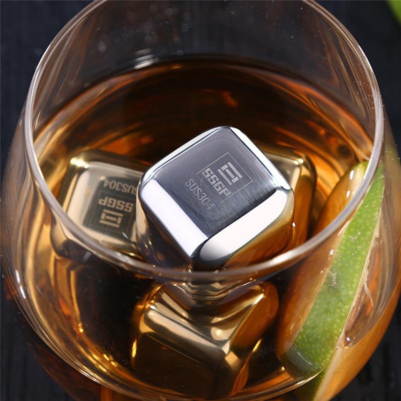 Cube Whiskey Stones 304 Stainless Steel Rock Wine Taste Beer Ice Stone Bar
