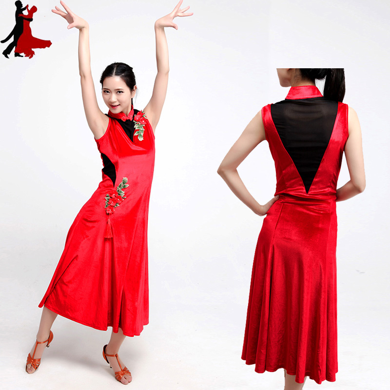 Chinese style velvet casual cheongsam Latin dance practice performance clothing dress women freeshipping hot sale