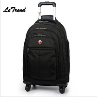 Letrend Black Travel Bag Spinner Suitcases Wheel Trolley Business Rolling Luggage Large Capacity Carry On Cabin