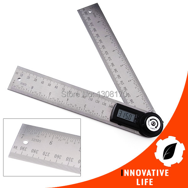 Stainless Steel 2in1 Digital Angle Finder Meter Protractor Gauge Scale Ruler 360 degree 400mm with Moving Blade angle ruler protractor stainless steel rulers with 180 degree angle square woodworking 10cm length high precision angle ruler