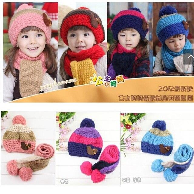 Hooyi Lavorato A Maglia Cappelli Delle Ragazze Infantili sciarpa set per Neonati  berretto di Lana cappello d14c1007ca7f