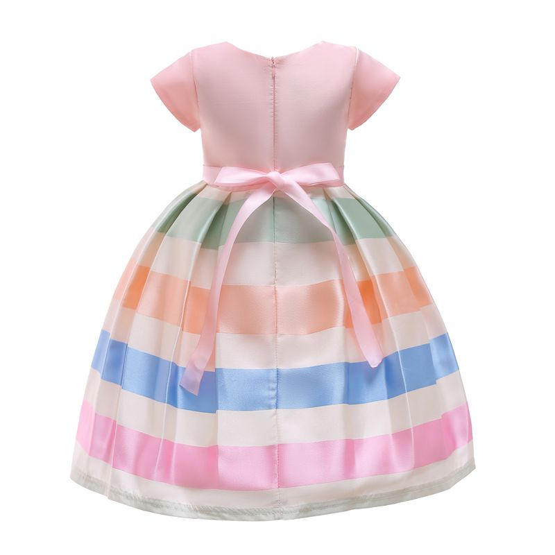 37a6f87bfc76 2019 Girls Autumn Dress Kid S Fashion Color Striped Bow Dresses ...