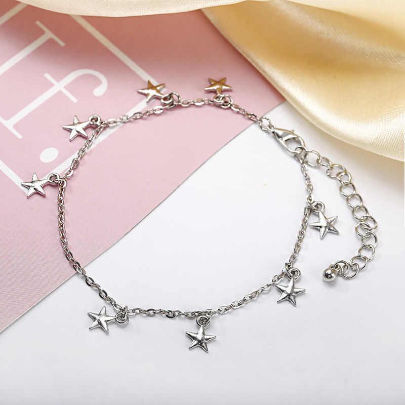 NS61 брендовый Ювелирный модный ножной браслет в бисер серебряного цвета звено цепи украшения для ног Звезда Шарм женские браслеты для щиколотки металлический анелет