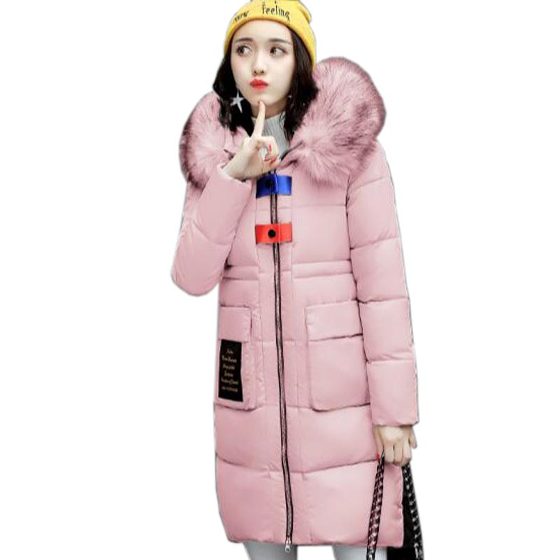 Winter Down cotton Jacket Coat 2017 Fashion Long Thickening Cotton padded Jacket Hooded Slim Big Yards Women Clothing QH0426 2015the new women s clothing han edition cotton padded clothes coat long big yards more loose tooling cotton padded jacket