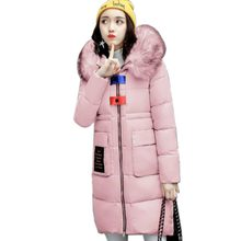 Winter Down cotton Jacket Coat 2017 Fashion Long Thickening Cotton padded Jacket Hooded Slim Big Yards Women Clothing QH0426