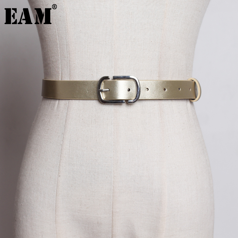 [EAM]  Pu Leather Vintage Long Simple Buckle Belt Personality Women New Fashion Tide All-match Spring Autumn 2020 JQ864