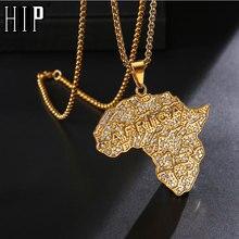 В стиле «хип-хоп», реперские кепки CZ камень Bling из Африки подвески в форме континентов 24 полюсная золотистая Цвет Нержавеющая сталь цепи Цепочки и ожерелья для Для мужчин ювелирные изделия