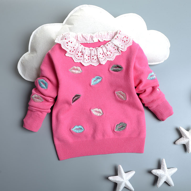 High Quality Autumn Winter Baby Girls font b Sweater b font Kids Clothes Children Cotton Lips
