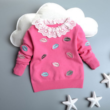 High Quality Autumn Winter Baby Girls Sweater Kids Clothes Children Cotton Lips Embroidery Sweater Knitted Outerwear sudaderas
