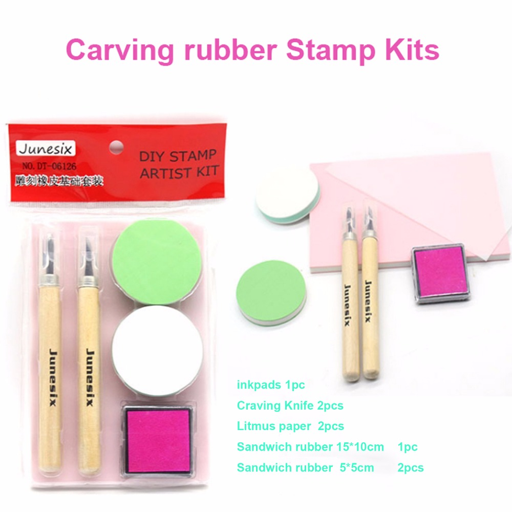 Carving Rubber Stamp Craving Knife DIY Set Rubber Brick Foundation Set Manual Material Pack