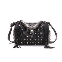 JIEROTYX Genuine Leather Tassels Skull Handbag Women Luxury Rock Rivet Punk Shoulder Bag Black Sheepskin Messenger Travel