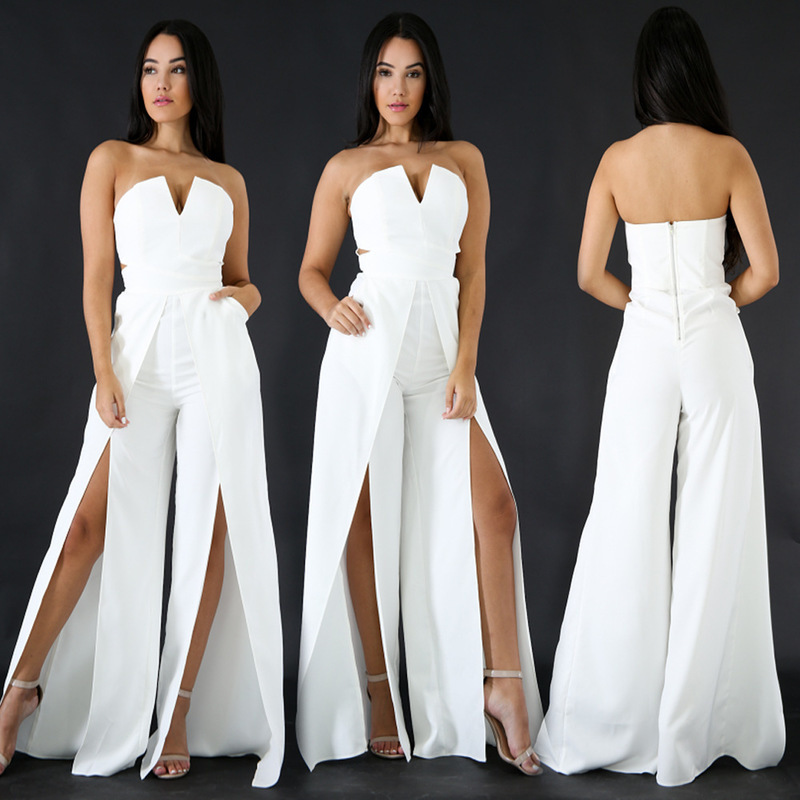 MUXU white jumpsuit europe and the united states jumpsuits rompers wide leg jumpsuit v neck body backless bodysuit overall 2018