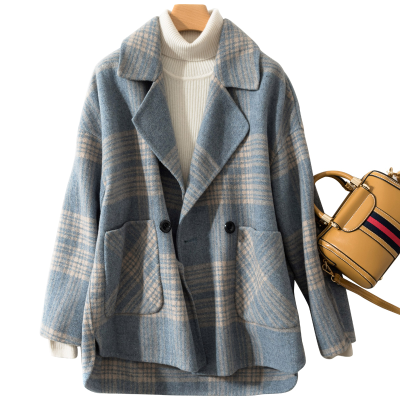 Smpevrg spring autumn fashion women coats casual jackets drop shoulder Double sided fabric coat women outwear