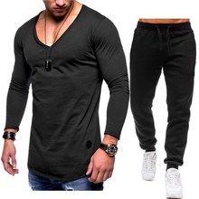 2019 New Summer Sets Men Casual Two Pieces set V-neck Tshirt+ Bodybuilding pants Plus size 3xl men tracksuit fashion sportwear