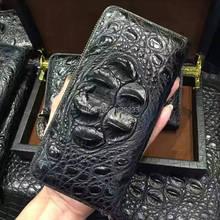 100% genuine alligator skin leather long size men wallet purss,zipper closure alligator head skin men clutch bank card holder