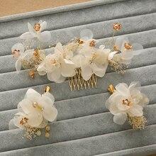 Handmade Charm Golden Artificial Silk Flower Hair Comb Bridal Hair Accessories Wedding Rhinestone Hair Clips Headpiece