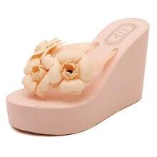 2016 New Fashion Summer Women Sandals High Heels Flip Flops Beach Wedge Sandals Platform Wedge Flip Flops zapatos mujer
