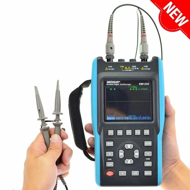 Cheap All-sun Digital Oscilloscope 25-100MHz 100M-1GSa/s 2CH + 6000 Counts DMM Handheld Portable Waveform USB LCD Backlight EM1230